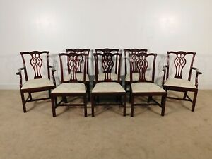 Set Of 8 Stickley Chippendale Mahogany Dining Chairs