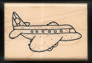 AIRPLANE PLANE COMMERCIAL PASSENGER DOTS JRL Design Co wood RUBBER STAMP $5.99