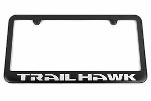 Trailhawk Jeep Grand Cherokee Renegade Satin Black License Plate Frame Silver