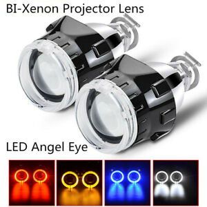 2pcs 2 5 Bi Xenon Projector Lens With Angel Eyes Ring Hid Headlight H1 H4 H7