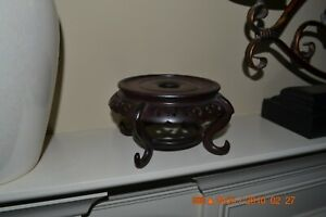 Vintage Hand Carved Brown Rosewood Pot Bowl Display Stand Made In Hong Kong