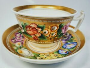 18th 19th Century Old Paris Gilded Floral Porcelain Cup And Saucer Signed Eg