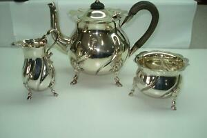 1900 Birmingham Sterling Silver Antique Teapot Creamer Sugar Bowl Set