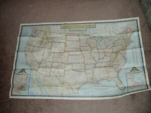 Vintage 1951 Map The United States Of America National Geographic Mag 26 X 41