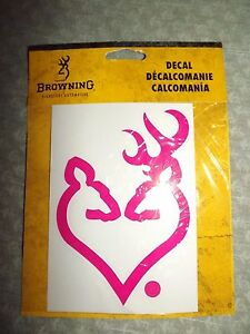 Browning Buck Doe Heart Shape Decal New