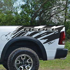 Dodge Ram Rebel Splash Grunge Logo Truck Vinyl Decal Bed Graphic Reflective Cast