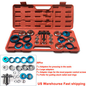 Crank Oil Seal Remove install Kit 20pc Tools 21 5 64mm Dia Screw type Adapter