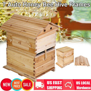 Beehive Beekeeping Wooden Brood House Box Kit For 7pc Auto Bee Honey Hive Frames