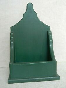 Green Painted Wooden Wall Shelf Candleholder Primitive Country Colonial