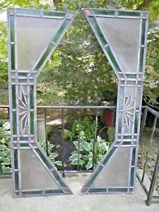 Set 2vtg Art Deco Stained Glass Windows Arches Nr