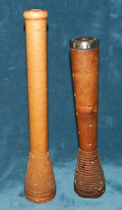 Awesome Antique Vintage Spool Bobbin Pair Candle Holders