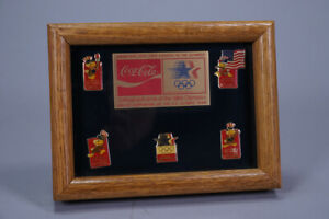 VINTAGE 1984 LOS ANGELES OLYMPICS OFFICIAL SOFT DRINK COCA COLA FRAMED PIN SET