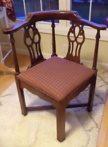Mahogany Corner Chair Chippendale Style Vintage Pick Up Only Reduced For 5 Days