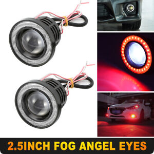 Universal 2 5inch Red Led Fog Light Projector Cob W Angel Eyes Halo Ring 12v 2x