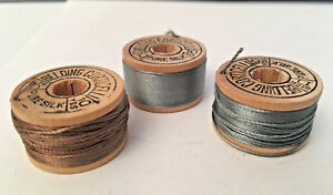 Antique Vintage 3 Small Wood Spools Silk Belding Corticello Buttonhole Twist