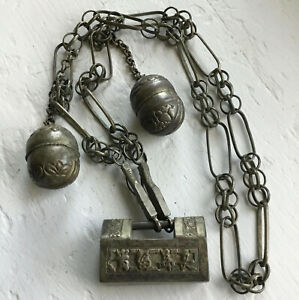 Qing Dynasty China Chinese Silver Lock Pendant Bells Unique Rare
