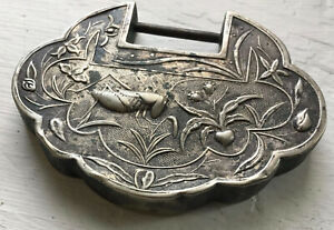 Qing Dynasty China Chinese Silver Longevity Lock Delicate Grasshopper Unique