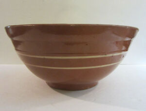 Rare Antique 1800 S American Redware Double Banded Slip Decorated 13 1 4 D Bowl