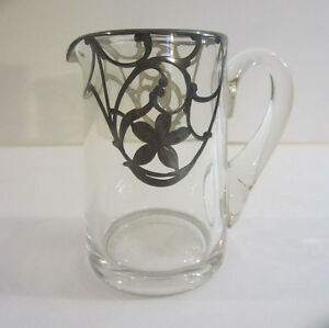 Vintage Silver Overlay Glass Creamer Pitcher Applied Handle 3 1 2 H Very Pretty