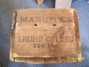 Antique Masury S Liquid Color Paint Wooden Shipping Crate John W Masury