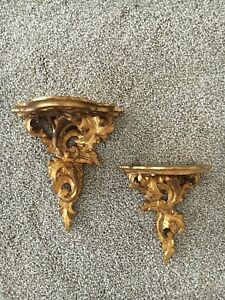 Wall Shelf Shelves Brackets Pair Set 2 Old Italian Florentine Rococo Gold Gilt