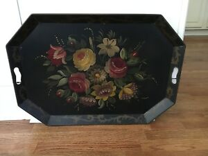 Tole Toleware Black Tin Serving Tray With Handles Hand Painted Flowers 19 X 27