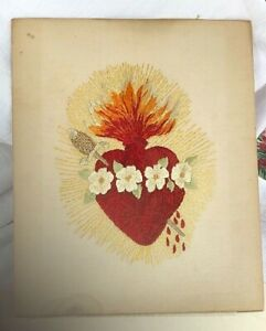 Antique Sacred Heart Embroidery Needlepoint On Linen Handmade 9 75 X12