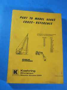 1976 Koehring Part To Model Catalog Cross Reference Manual crane Hoe