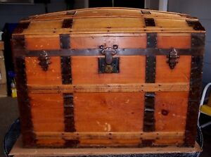 Vintage Humpback 1870 S Lined Steamer Wood Trunk 36 X 30 X 23 Vgc