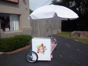 New Pink Breast Cancer Awareness Fundraiser Ice Cream Push Cart W umbrella