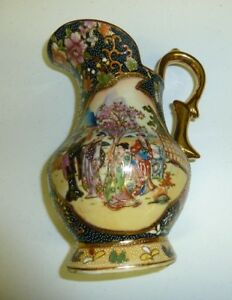 Authentic Japanese Satsuma Hand Painted Pitcher Gold Gilded 9 Inches