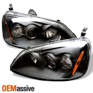 Fits 01 03 Honda Civic 2 4dr Ex Lx Jdm Black Halo Projector Headlights Lamp Pair