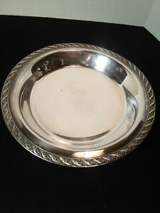 Vintage Wm A Rogers Round Footed Silverplate Bowl Tray 10 3 4 Spring Flower