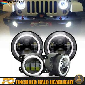 7 Led Headlight Round Hi Low Beam Halo Angle Eye For Jeep Patriot Liberty