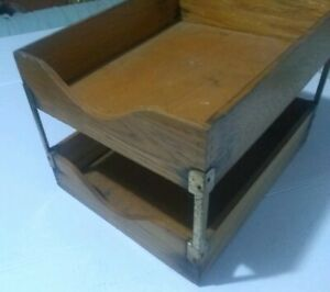 Vintage Wood Oak Double Tray Desk Organizer In out Box Letters