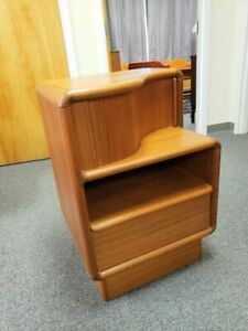 Mid Century Modern Danish Teak Curved Nightstand Side Table Kibaek Mobelfabik