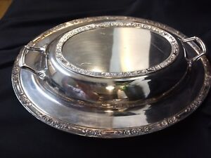 Lovely Vintage Arbor Heavy Silver Plate Covered Serving Dish With Handles