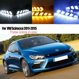 Led Drl Turn Indicator Signal Daytime Running Fog Lights Fit For Vw Scirocco 11