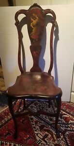 Vintage Victorian Mahogany Carved Hand Painted Parlor Chair