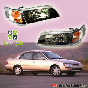 Fits For 1993 1997 Toyota Corolla Jdm Headlights Black Housing Headlamp Set