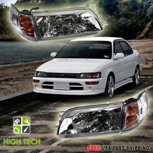 Fits For 1993 1997 Toyota Corolla Jdm Headlights Chrome Housing Headlamp Set