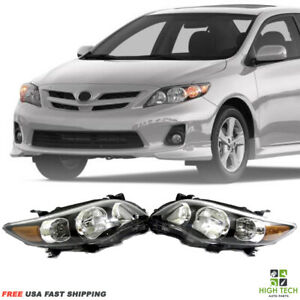 Fits For 2011 2013 Toyota Corolla Front Headlights Black Housing Clear Lens Set