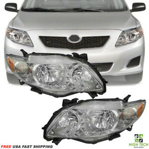 Fits For Toyota Corolla 2009 2010 Front Pair Headlights Focos Chrome Lh Rh