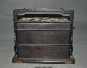10 China Redwood Inlay Shell Turquoise Palace Portable Food Box Drawer Food Box