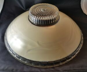 Ceiling Light Fixture Shade Art Deco Cream Ethed Glass 11 W 4inch