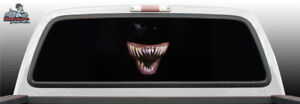 Monster Teeth Face Creepy Perf Perforated Rear Window Graphic Decal Suv Truck