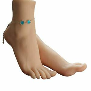 1 Pair Of Silicone Realistic Size Lifesize Female Model Feet Showing Jewellery
