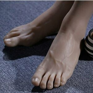 New 1 Pairs Silicone Realistic Size Lifesize Male Model Feet Show Jewelry
