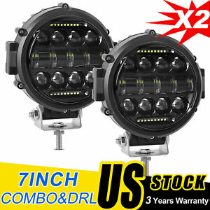 2x 7 Inch Round Led Work Light Combo Angle Eye Driving Headlight Offroad Truck