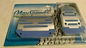 Universal Pedal Cover Blue silver Manual 2pcs set